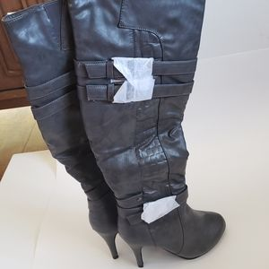 TOP MODA Tall Over the Knee Grey Boots Size 5 1/2